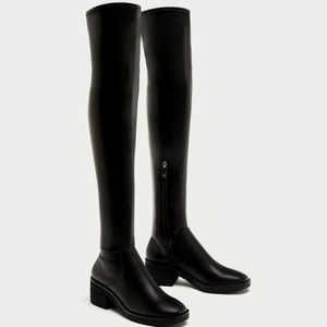 NWOT ZARA OVER THE KNEE BLACK BOOTS ~ 8 ~ STRETCH